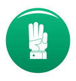 hand three icon green vector image vector image