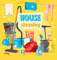 house cleaning tools and supplies vector image vector image