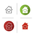 house with heart inside icon vector image