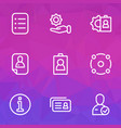 job icons line style set with information id vector image vector image