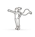 little super hero girl standing with costume vector image vector image