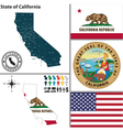 Map of California with seal vector image vector image