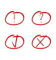 mark red marker tick and cross exclamation and vector image vector image