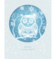 merry christmas card with with an owl vector image vector image