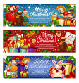 merry christmas holiday santa gifts banners vector image vector image