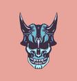monster skull retro cartoon design vector image