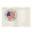 passport pages with welcome to new york usa vector image