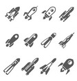 rockets bold black silhouette icons set isolated vector image vector image
