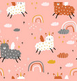 seamless childish pattern with funny llama vector image vector image