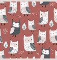 seamless pattern with owls and leaves creative vector image vector image