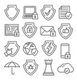secure and shield line icons on white background vector image vector image