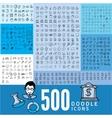 set 500 doodle icon vector image