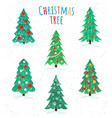 Set different christmas trees icon happy new