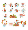 set of cute cartoon snowmen vector image