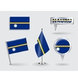 Set of Nauru pin icon and map pointer flags vector image vector image
