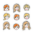 set of women faces human heads different vector image vector image