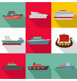 shipping industry icons set flat style vector image