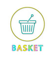 Shopping basket icon linear outline style