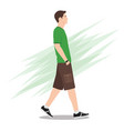 side view a young man in shorts walking vector image vector image