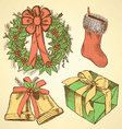 Sketch Christmas set in vintage style vector image vector image