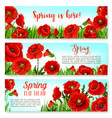 spring time flowers on greeting banners set vector image vector image
