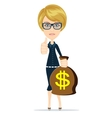 Successful businesswoman with a Bag of Dollar vector image vector image