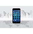 Touchscreen device with applications icons vector image