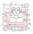 video blogger male red black line concept vector image