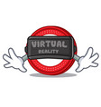 with virtual reality ark coin character cartoon vector image vector image