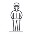 Worker line icon sign on