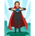 Young businessman dressed like super hero vector image