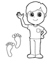 kid with paw print Coloring Page vector image