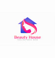 beauty house logo women and house silhouette vector image vector image