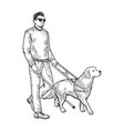 blind man and guide dog sketch vector image vector image