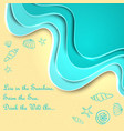 bright turquoise sea waves and sand vector image