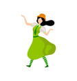 brunette girl in green irish traditional costume vector image vector image