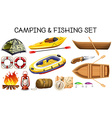 Camping and fishing equipments vector image vector image