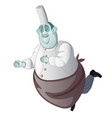 cartoon a ghost chef isolated on a white vector image vector image