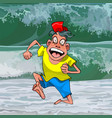 cartoon funny man runs away from a big wave vector image