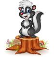 Cartoon funny skunk on tree stump vector image vector image