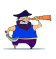 Cartoon one-legged Pirate with Spyglass vector image