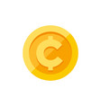 cent centavo currency symbol on gold coin flat vector image vector image