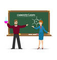 chemistry teachers and chalkboard vector image vector image