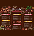 chocolate menu sweets and desserts vector image
