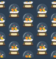 christmas snow globe with chicken seamless pattern vector image