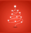 christmas tree with lighting garland christmas vector image vector image