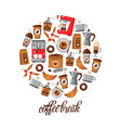 coffee flat line icons vector image