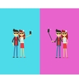 Couple with selfie stick Cartoon characters vector image vector image