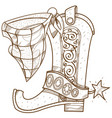 cowboy boot logo wild west outline drawing for vector image vector image