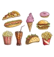 Fast food sketch isolated icons vector image vector image